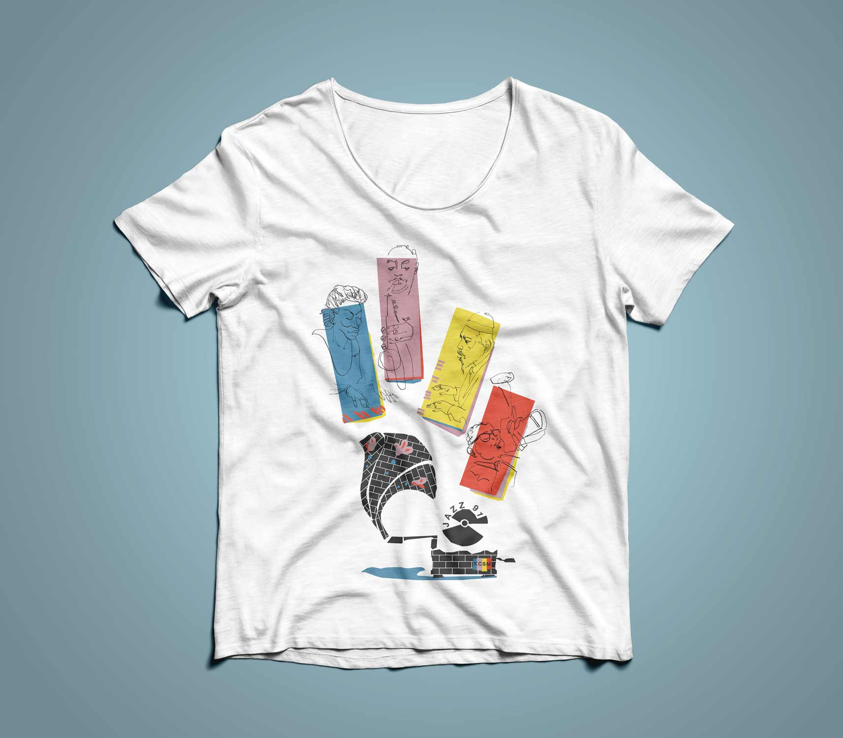 Bebop Royalty Finished T-Shirt Design for KCSM Jazz Radio