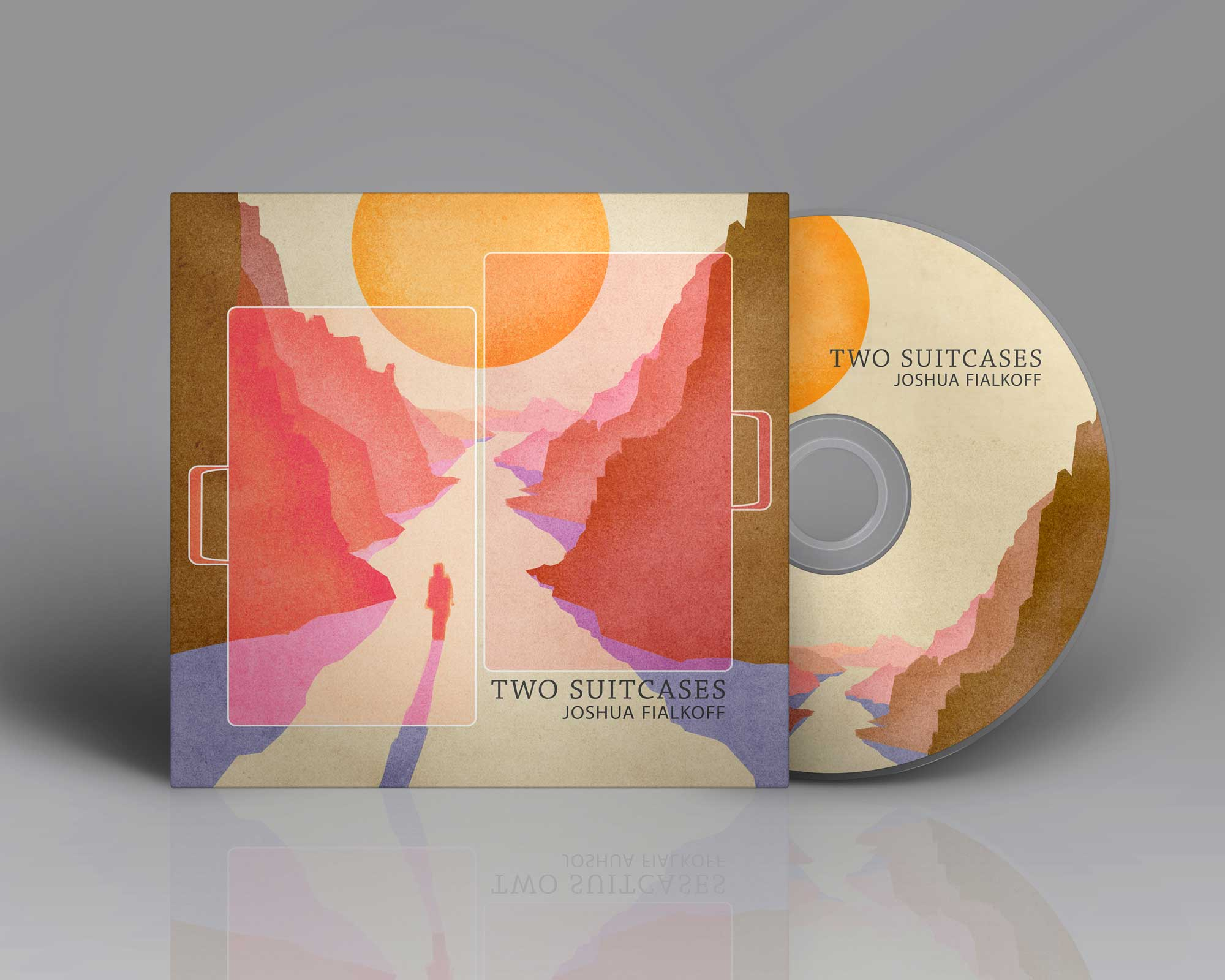 Final Album design for two suitcases album by josh fialkoff