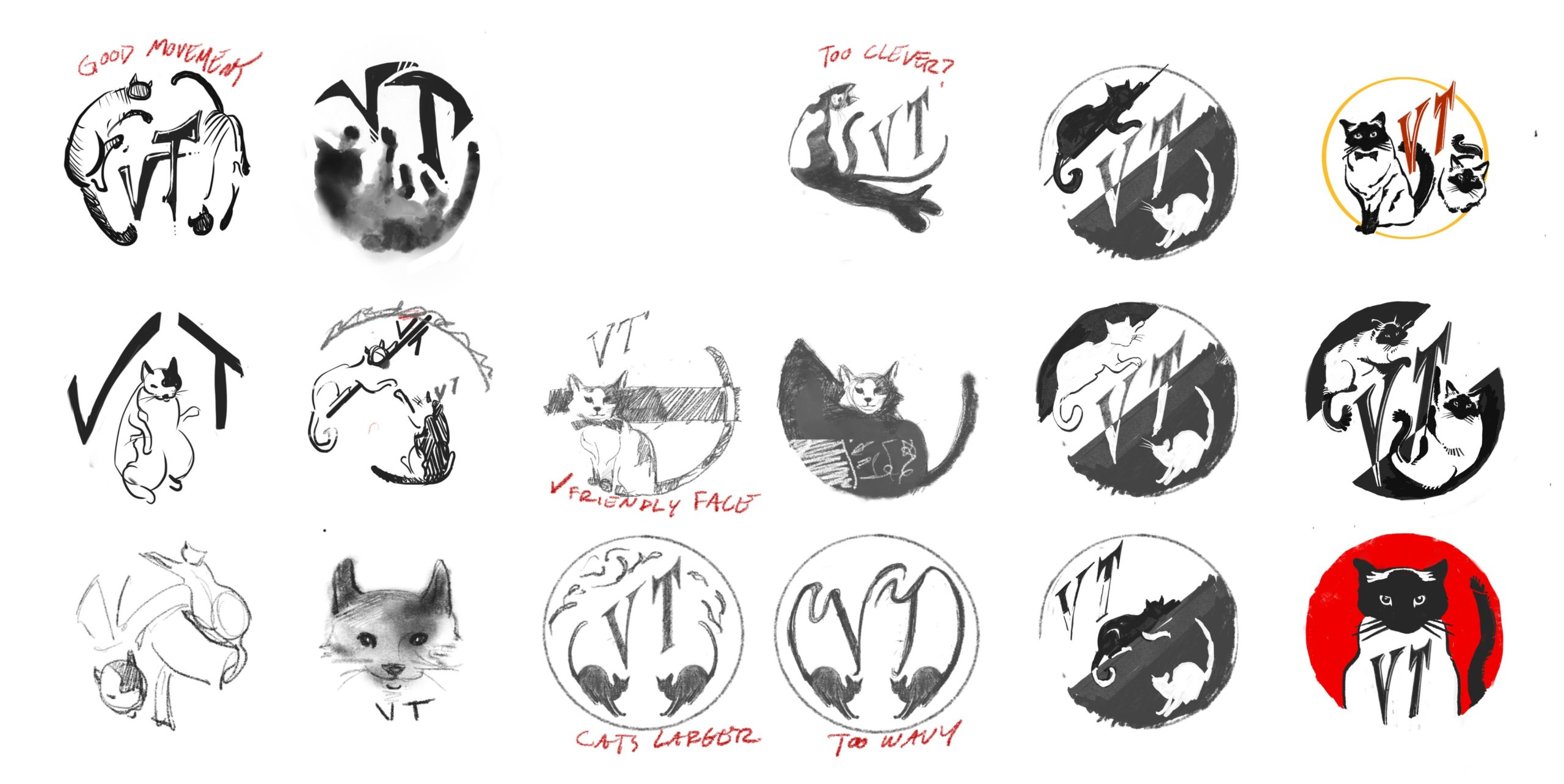 Process Sketches for Virginia Tichenor's Bass Drum Decal