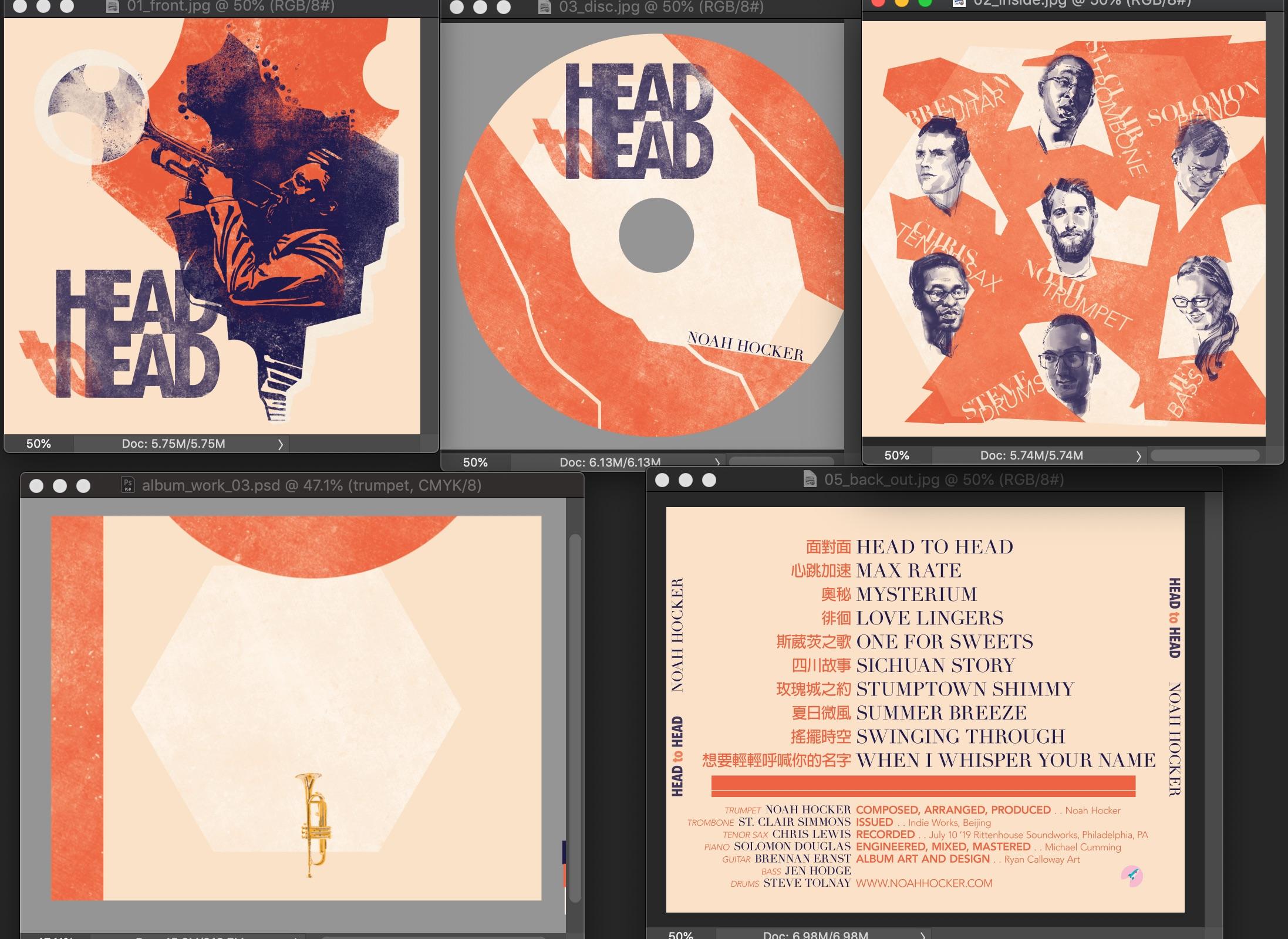 Head to Head Album Design Cover, CD, Portraits, Song List