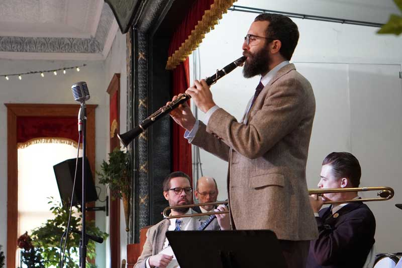Ryan playing clarinet with the gaslight squares